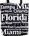 Florida Souvenir Letter Canvas Tote Bag - Black, 14.5 H