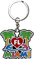 Miami Florida Palm Trees & Dolphins Key Chain