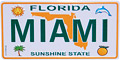 Miami Mini License Plate Magnet, Metal