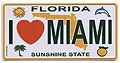 I Love Miami Mini License Plate Magnet, Metal