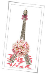 Eiffel Tower miniature with wedding themed decoration