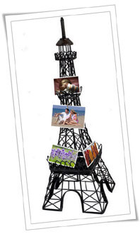 Eiffel Tower Statue with Photos and Postcards