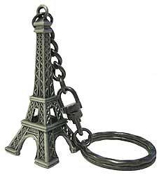 2 eiffel tower miniature replica pewter finish key chain. Black Bedroom Furniture Sets. Home Design Ideas