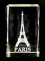 3D Laser-Etched Crystal - Eiffel Tower with PARIS, Small