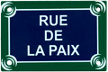 Paris Street Sign Replica, Rue De LA Paix, 6x4