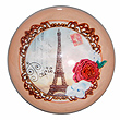 Paris Glass Magnet - Eiffel Tower and Flowers