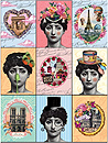 Paris Landmarks and Fashion - Set of 6 Museum Magnets