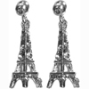Eiffel Tower Earrings - Silver with Clear Rhinestones