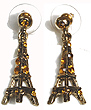 Eiffel Tower Earrings - Gold with Gold Rhinestones