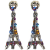 Eiffel Tower Earrings - Silver with Multicolor Rhinestones