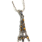 Eiffel Tower Necklace - Silver with Gold Rhinestones