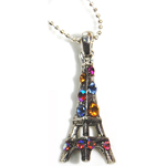 Eiffel Tower Necklace - Silver with Multicolor Rhinestones