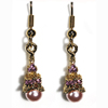 Eiffel Tower Earrings - Gold with Pink Pearls