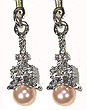 Eiffel Tower Earrings - Silver with Pink Pearls
