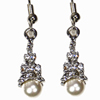 Eiffel Tower Earrings - Silver with White Pearls