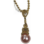 Eiffel Tower Necklace - Gold with Pink Pearl
