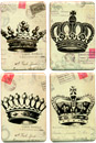 French Crown Postal Magnets, Set of 4