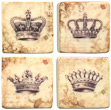 French Crown Stone - Like Tile Magnets, Set of 4