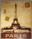 Paris Eiffel Tower Postal, Metal Wall Plaque