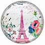 Paris Glass Magnet - Floral Eiffel Tower