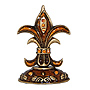 Enamel Jeweled Fleur de Lis Miniature Finial, 2.75 H
