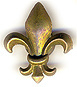 3D Fleur de Lis Design Fridge Magnet, Antique Brass