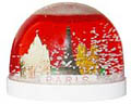 Paris Monuments Snowglobe, Red , Large