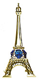 5  Eiffel Tower Miniature in Gold w/ Blue Color Austrian Crystal
