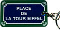 Paris Street Sign Keychain,  Place de la Tour Eiffel