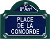 Paris Street Sign,  Place de la Concorde , 4 x3