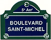 Paris Street Sign, Boulevard Saint Michel, 4x3