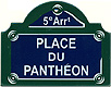 Paris Street Sign,  Place Du Pantheon , 4 x3