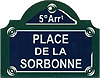 Paris Street Sign,  Place de la Sorbonne , 4 x3