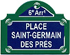 Paris Street Sign,  Place Saint-Germain des Pres , 4 x3