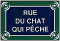 Paris Street Sign Replica,  Rue Du Chat Qui Peche , 6 x4