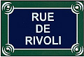 Paris Street Sign Replica,  Rue De Rivoli , 6 x4