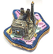 French Limoges Box, Paris Monuments on Map of France