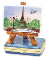 French Limoges Box, Eiffel Tower Painting on Easel