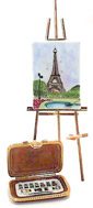 French Limoges Box, Eiffel Tower Painting on Tall Easel