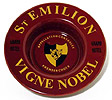 Vintage French Hotel Wine Bottle Coaster in Burgundy Color, 6-3/4 D