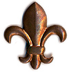 Brass Fleur de Lis Design Fridge Magnet, Large