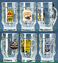 Classic Glass Mug Set of German Brewery Labels, 6-1/4H