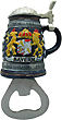 German Beer Stein Bottle Opener with Magnet, Bayern Crest