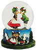 German Boy & Girl Kissing Snow Globe, 3.5 H