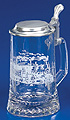 Glass Beer Stein with Pewter Lid - Railroad, 7-1/4 H