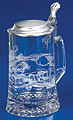 Glass Beer Stein with Pewter Lid - Aviator, 7-1/4 H