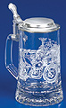 Glass Beer Stein with Pewter Lid - Motorcycle, 7-1/4 H
