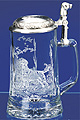 Glass Beer Stein with Pewter Lid - Labrador, 7-1/4 H