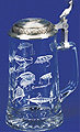 Glass Beer Stein with Pewter Lid - Fishing Lures, 7-1/4 H