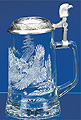 Glass Beer Stein with Pewter Lid - Bald Eagle, 7-1/4 H